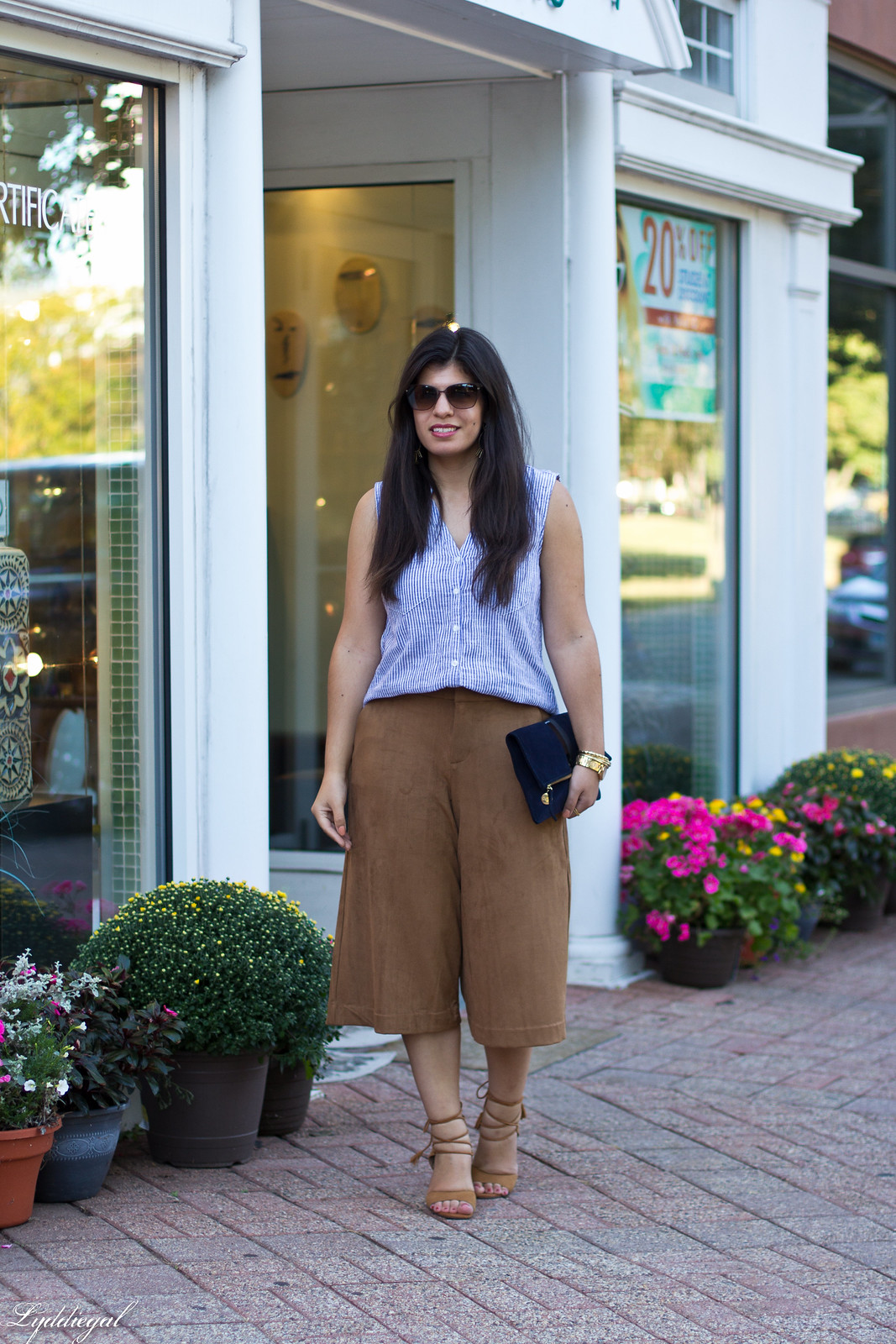 striped shirt, brown suede culottes, clare v clutch.jpg