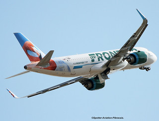 Frontier Airlines. First Flight Airbus A320 NEO Of New Livery.