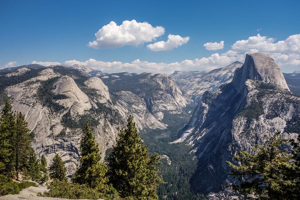 North Dome, Basket Dome, MT. Watkins, Tenaya Canyon & Half Dome from Glacier Point, Yosemite