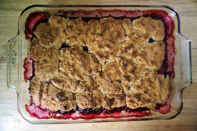 A finished pan of cobbler, shot from overhead. The brown biscuits have spread to fill almost the entire pan, and all around the edges of the glass dish the bright magenta juices have bubbled up and receded, leaving a thin coating that looks almost like stained glass.