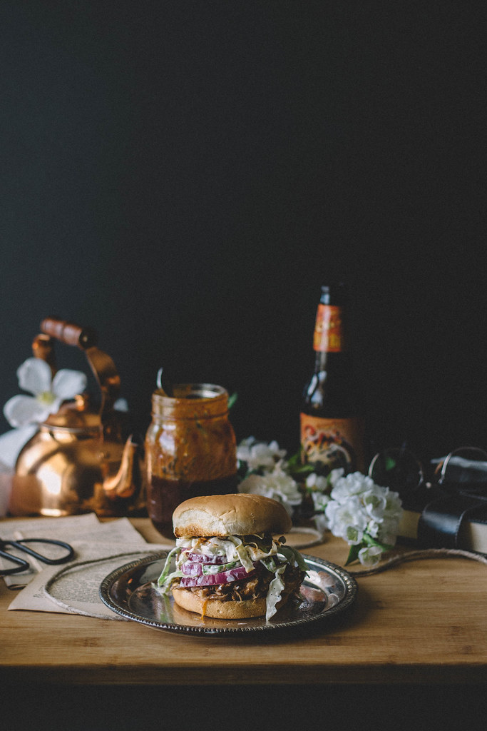 Slow Cooker Root Beer Pulled Pork with Spicy Slaw, Red Onions, & Root Beer BBQ sauce // TermiNatetor Kitchen