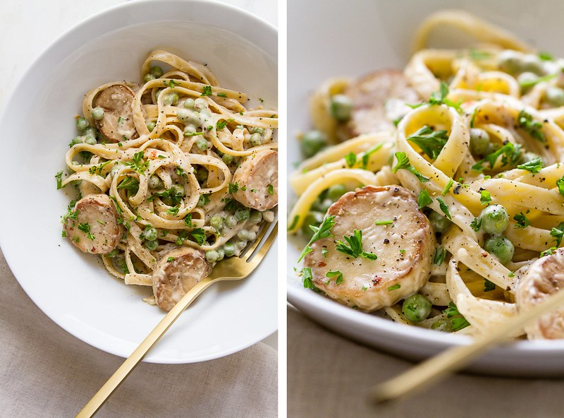 ONE-POT CREAMY FETTUCCINE + PEAS + KING OYSTER MUSHROOM 'SCALLOPS'