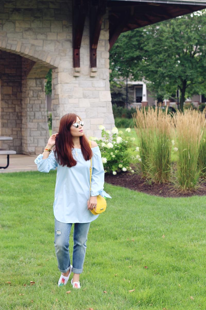 zaful-off-shoulder-top-cropped-jeans-pineapple-bag-7