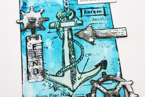 Simply paper craft meihsia Liu mixed media tag nautical tim holtz simon says stamp monday challenge 4