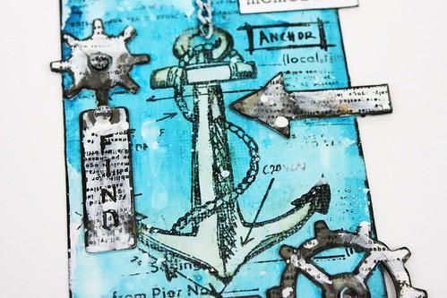 Simply paper craft meihsia Liu mixed media tag nautical tim holtz simon says stamp monday challenge 4