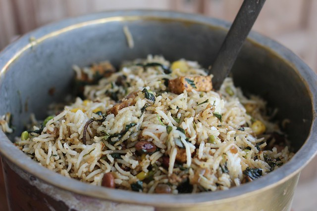 paticheri_rice with paneer beans and wild amaranth