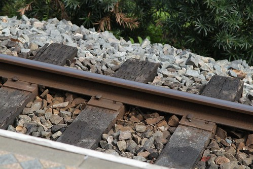 Timber sleepered track on the Hong Kong Disneyland Railroad