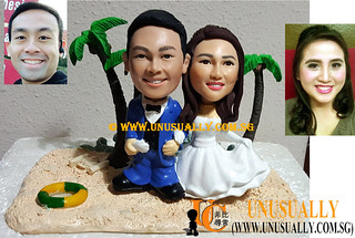Custom 3D Lovely Wedding Couple On Romantic Sea-Side Figurines - © www.unusually.com.sg