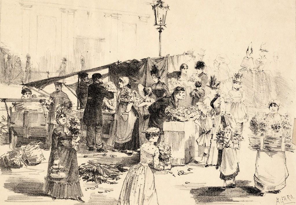 Marché aux fleurs d'Amsterdam en 1888 d'après Alfaro.