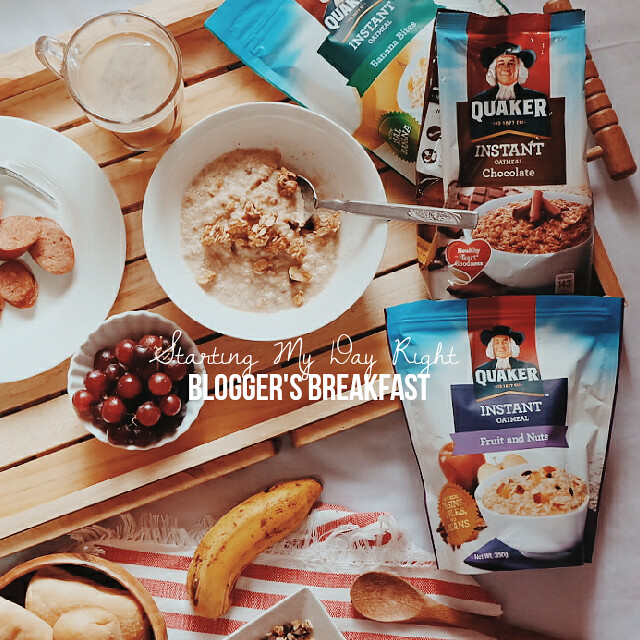 breakfast flatlay quaker oats