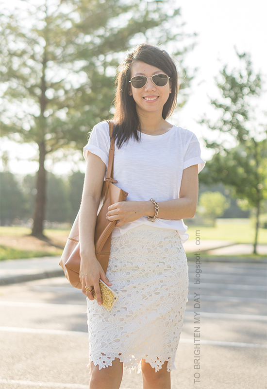 white tee, off-white floral pencil skirt, gold jewelry, cognac brown tote