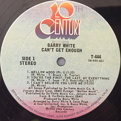 BARRY WHITE:CAN'T GET ENOUGH(LABEL SIDE-A)