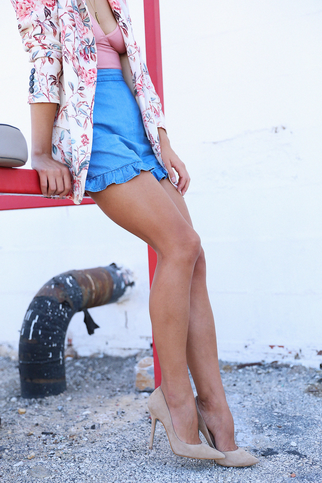 Jessie Chanes Seams for a Desire American Apparel Bodysuit Denim Shorts Flowered Print Blazer-6