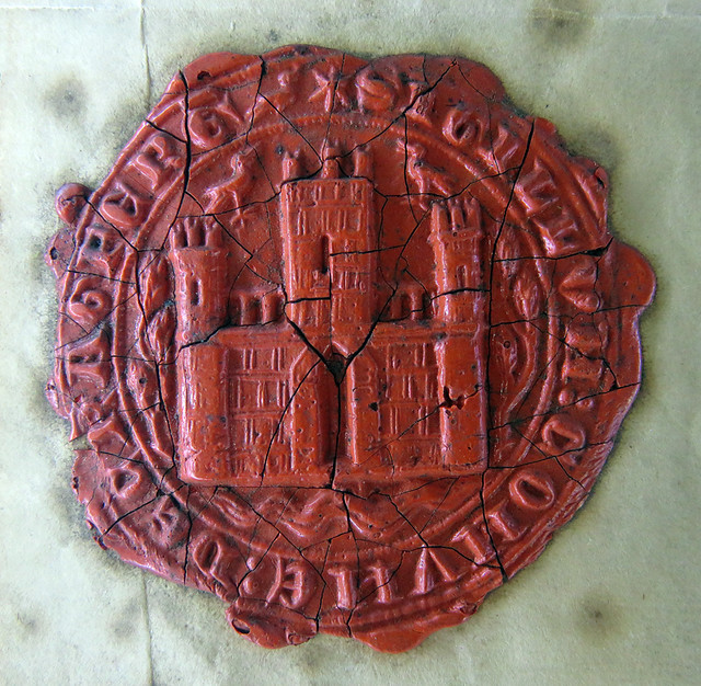 The wax seal in the museum at the medieval castle of Carrickfergus along the Coastal Causeway Route of Ireland, UK