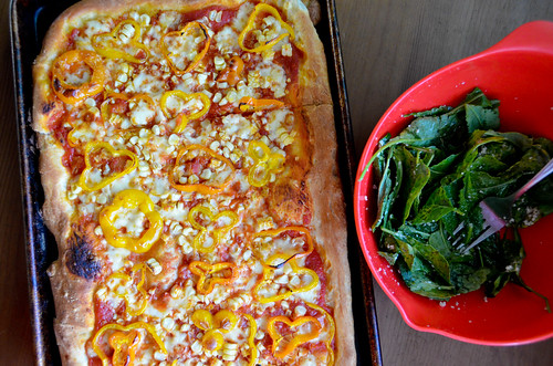 Sweet Corn & Tinkerbell Pepper Pizza with Fontina Cheese & Baby Kale