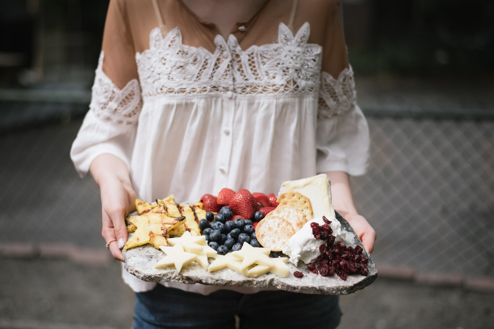 Fourth of July Fruit and Cheese Plate on juliettelaura.blogspot.com