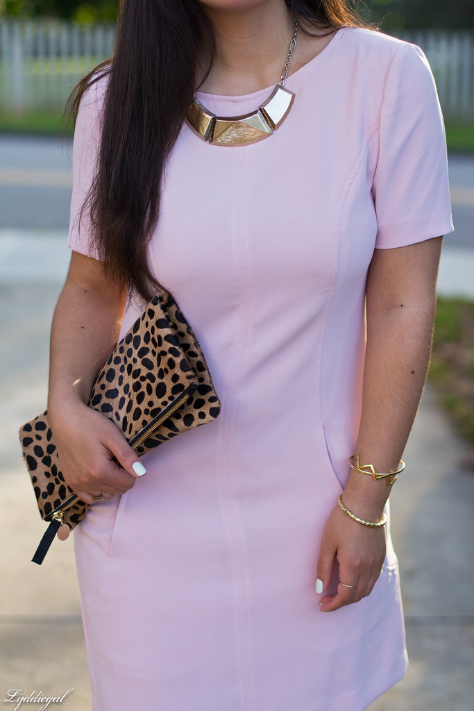 pink sheath dress, clair v leopard clutch, gorjana vista cuff-6.jpg