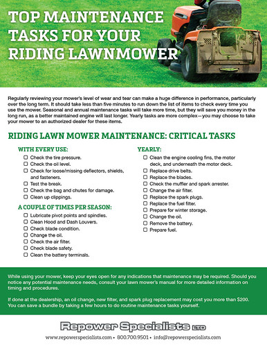 maintenance tasks for riding lawnmowers