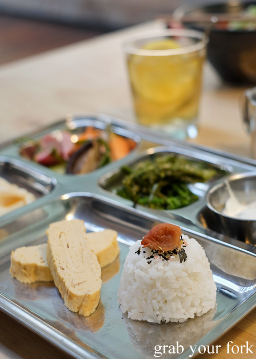 Tamago rolled egg and steamed rice with umeboshi pickled plum in the prison bento at Rising Sun Workshop, Newtown