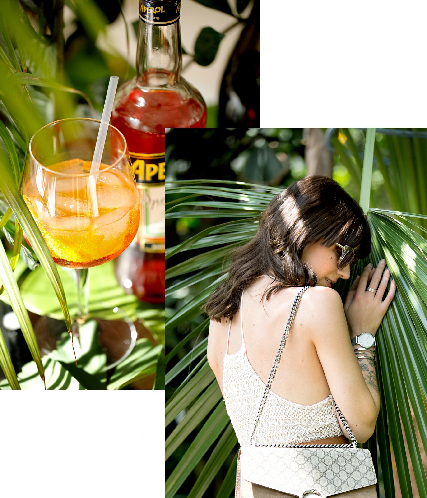 aperol spritz summer aperitif drink cocktail recipe personal urban jungle garden palm tree holiday feeling white crochet dress hm gucci belt saint laurent wedges dionysus ricarda schernus fashionblogger 6